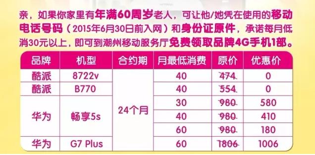 潮州移动:【大惊喜】4G手机免费领!攻略在此!