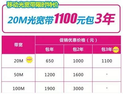 常德移动:每天仅需1元钱,畅享移动20M极光宽带!