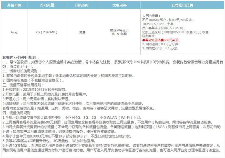 淮安电信飞young4G纯流量49云卡资费详情.png