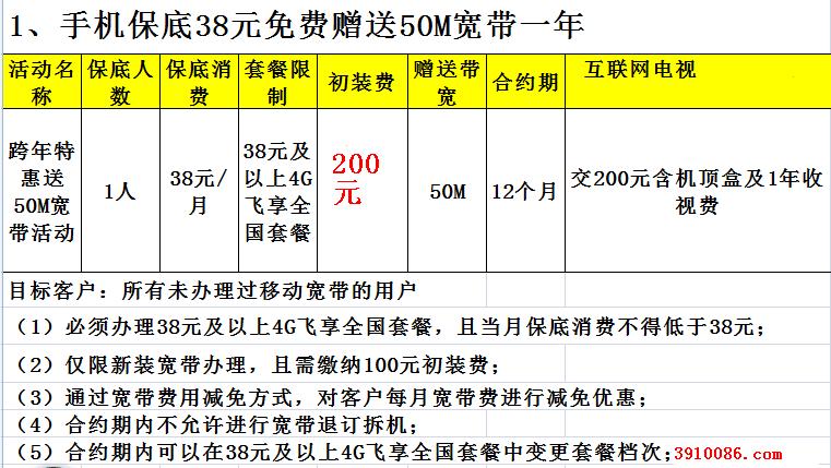 昆明移动全国套餐用户,只须要每月消费38元的话费就赠送一条50M移动光纤宽带,赠送时间为12个月.png