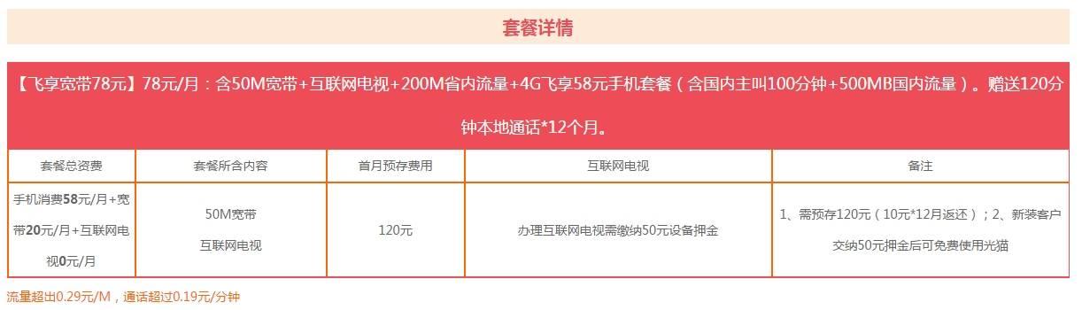 50M飞享宽带78元