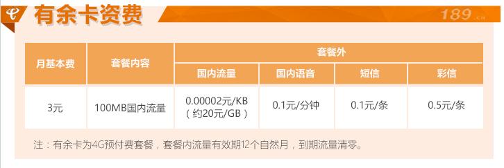 北京电信有余卡资费表