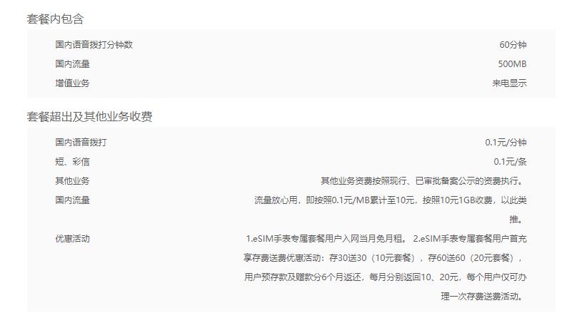 湛江联通eSIM套餐智能手表10元